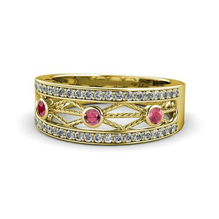 Garnet Rope Design (Rhodolite Garnet & Diamond Rope Wedding Band with Heart & Drop Design 0.50 Carat tw in 14K Yellow Gold.size 8.5)