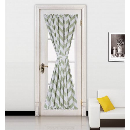 "( Zig Zag ) SAGE GREEN 1pc Printed 2 Tone Color STRIPE French Door Foam Backing Insulated Thermal Blackout Rod Pocket Curtain Panel with Tieback 55""W x 72""L"