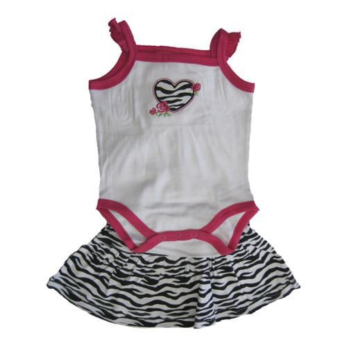 Carter's Baby Girls White Fuchsia Zebra Pattern Heart Onesie Skirt Set 6M