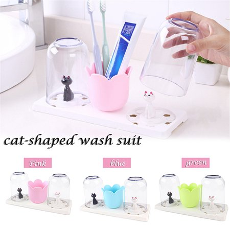 Ins Cat Lover Water Cup Lovely Fashionable Tooth Cleaning Sanitary Washing Tool Innovative Cat-shaped Washing Cup Set Brush Tool Storage Box Toothbrush Holder Stand Bathroom Decoration Cup - Stand Ins With Your Face