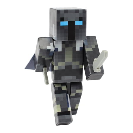 Iron Armor Crusader Action Figure Toy, 4 Inch Custom Series Figurines by EnderToys](White Wolf Minecraft Skin)