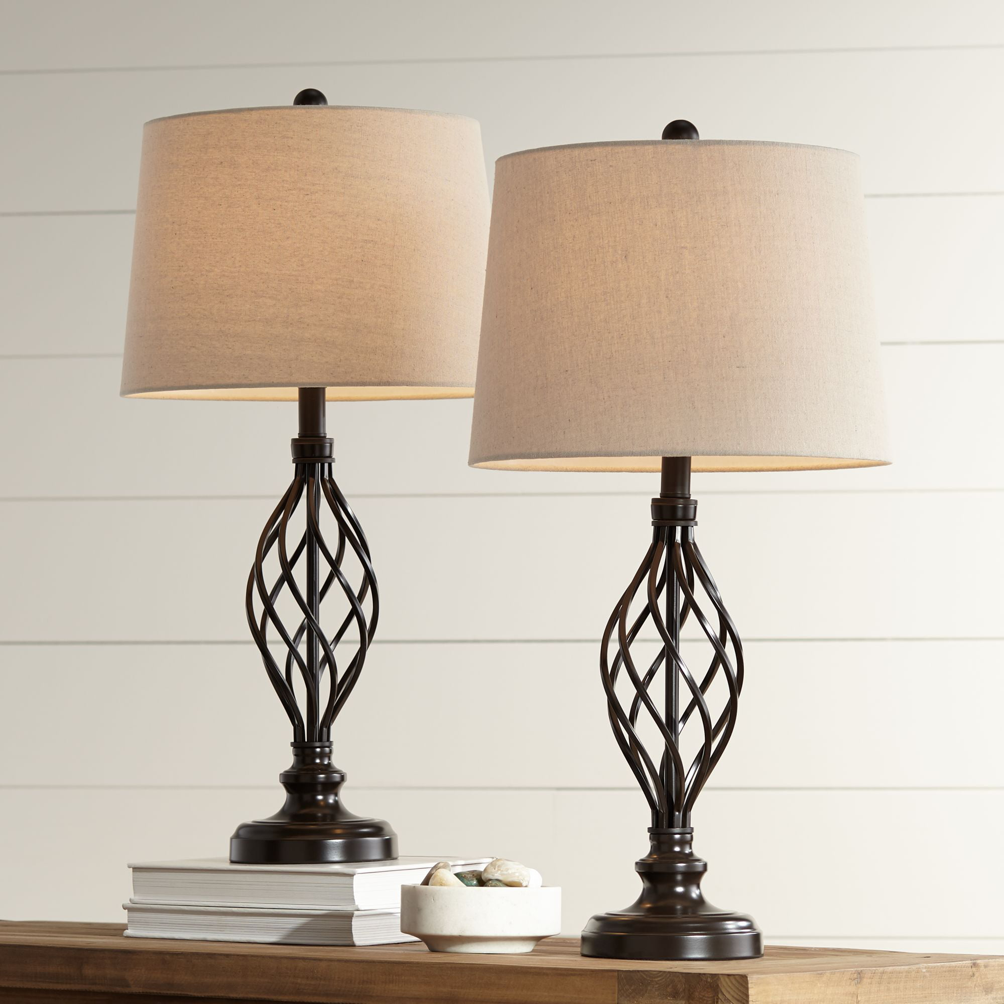 Franklin Iron Works Traditional Table Lamps Set of 2 Bronze Iron Scroll  Tapered Cream Drum Shade for Living Room Family Bedroom - Walmart.com