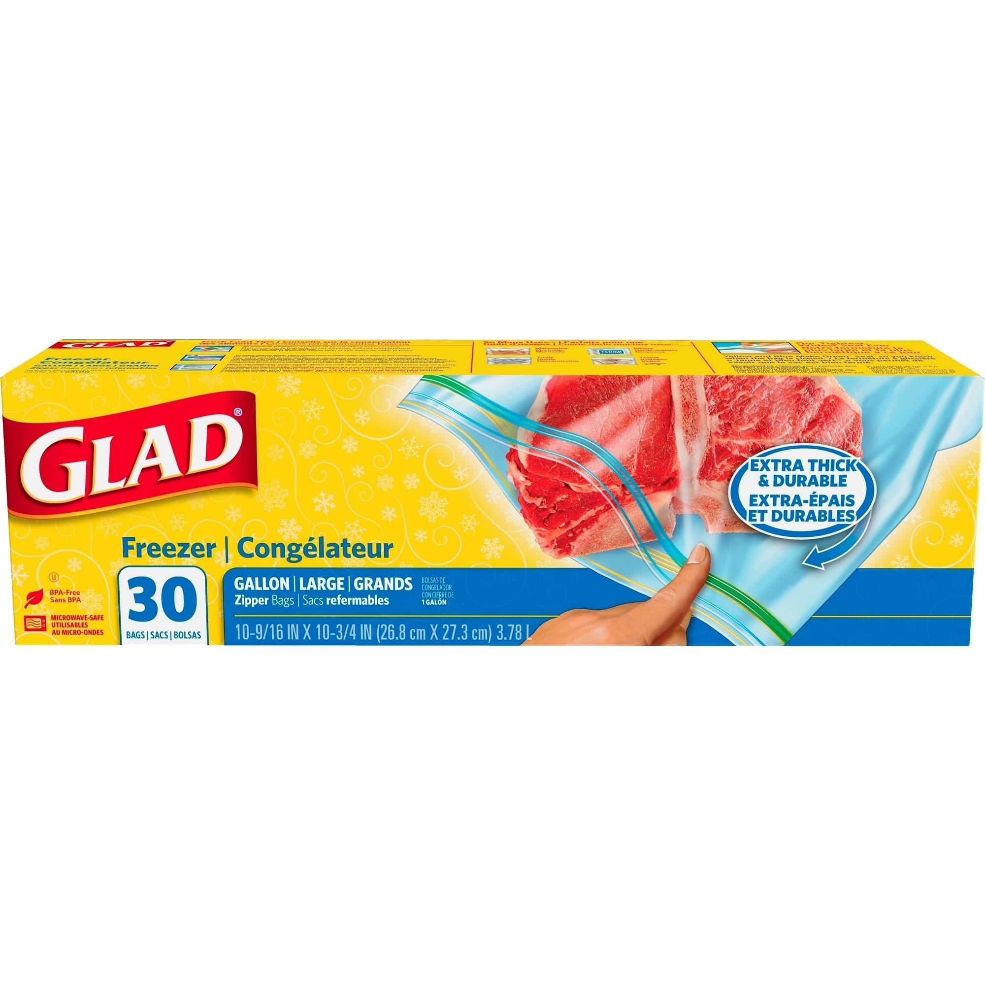 Glad Pinch & Seal Zipper Freezer Bags, Gallon, 30 Ct