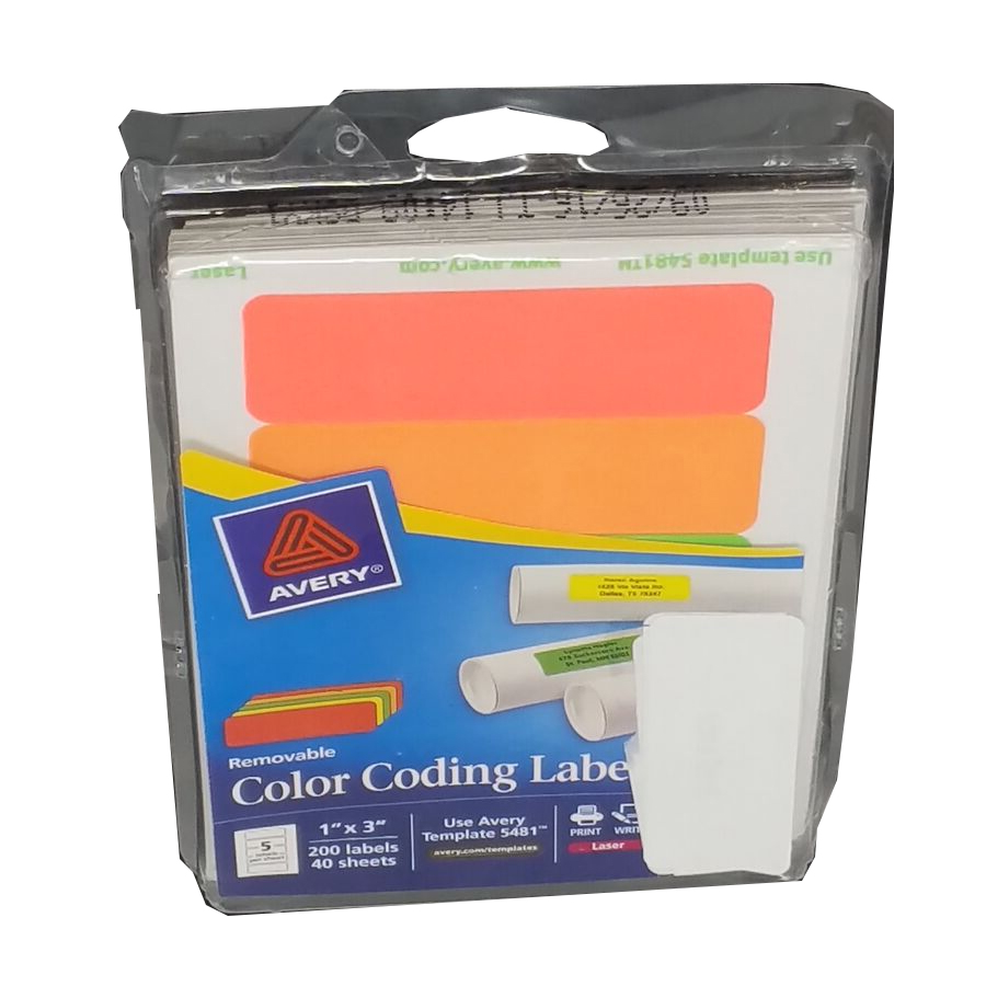 Avery Removable Print or Write Color Coding Labels, 1 x 3 Inches, 200 Labels (5481) [Open Box]