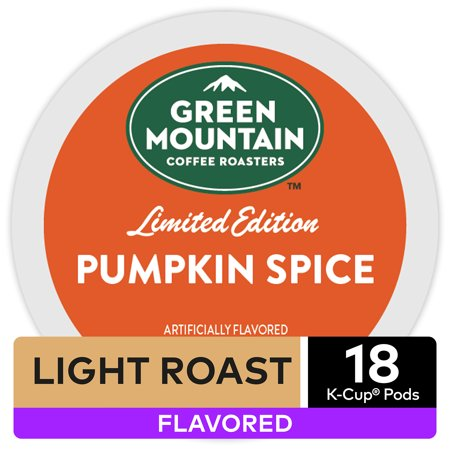 Green Mountain Coffee Pumpkin Spice, Flavored Keurig K-Cup Pod, Light Roast, 18 Ct
