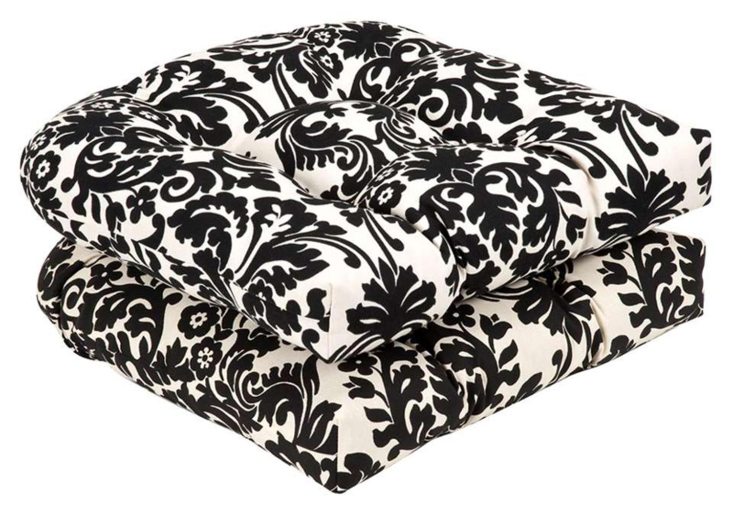 Pack of 2 Outdoor Patio Furniture Wicker Chair Seat Cushions Dramatic Damask by CC Home Furnishings