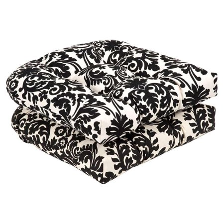 Pack of 2 Outdoor Patio Furniture Wicker Chair Seat Cushions - Dramatic Damask