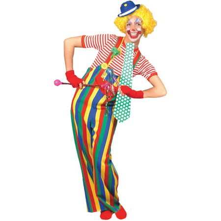 Striped Clown Overalls Adult Halloween Accessory