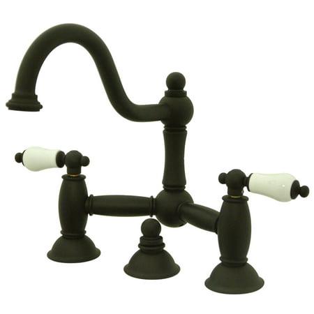 Bridge Faucet Oil (Kingston Brass KS3915PL Restoration Lavatory Bridge Faucet with Brass Pop-Up, Oil Rubbed Bronze )