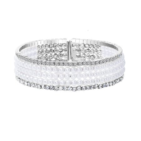 Lesa Michele Womens Simulated Pearl and Cubic Zirconia Multi Strand Bracelet in Rhodium Plated (Pearl Single Strand Bracelet)