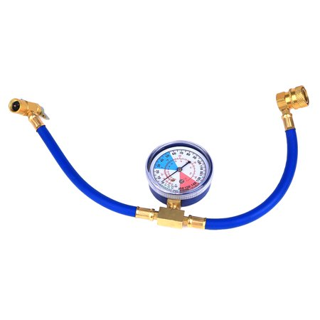 R134a AC HVAC Recharge Measuring Refrigerant Hose Can Tap with Gauge System