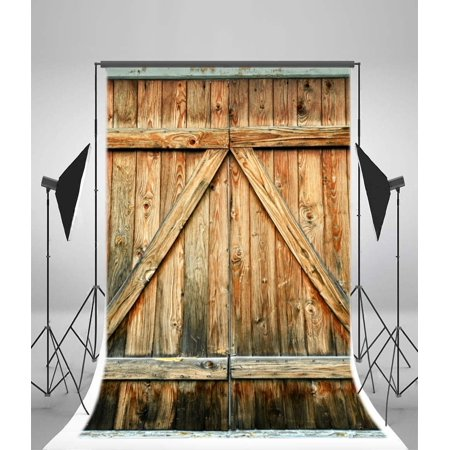 HelloDecor Polyster 5x7ft Wood Backdrop Photography Background Barn Wooden Door Texture Rustic Grunge Background Countryside Style Background Portrait Photo Studio Prop - Barn Door Backdrop