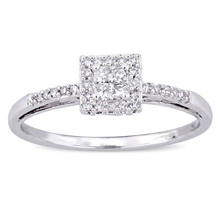 miabella 15 carat tw princess and round cut diamond 10kt white gold halo engagement ring walmartcom - Walmart Jewelry Wedding Rings