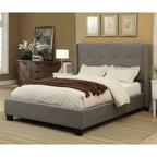 Baxter Upholstered Platform Bed Gray Linen Full Double