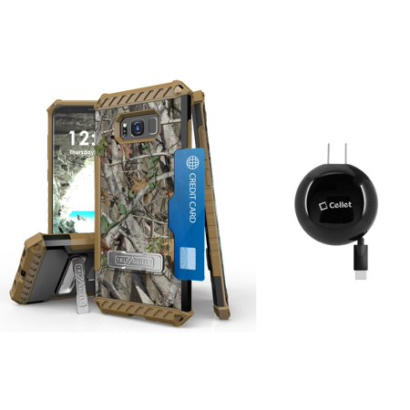 Samsung Galaxy S8+ Plus (2017) - Accessory Bundle with Tri-Shield [Military-Grade] Rugged Kickstand Case - [Real Tree Camo], [15W / 3A] Retractable Type-C USB Wall Charger [2.3 ft.], Atom LED](Atom Real Steel)