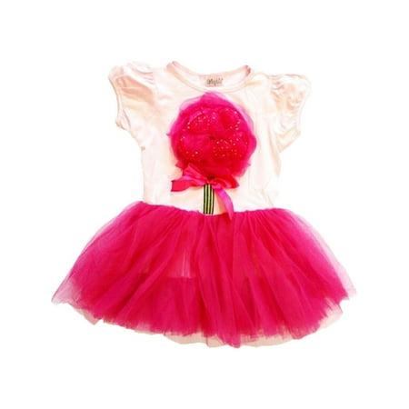 Wenchoice Pink Hot Pink Organy Flower Tutu Short Sleeved Dress Girl XL