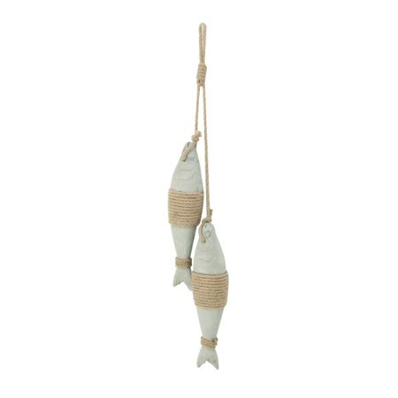 Wall Accents Decor (Decmode Coastal 24 X 5 Inch Concrete Fish Wall Decor With Rope Accents,)