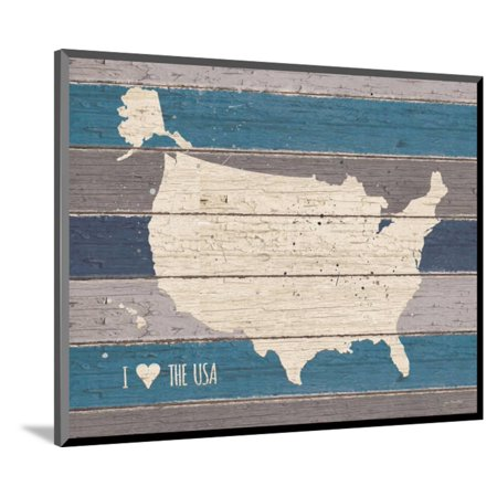 I Love The Usa Map Wood Mounted Print Wall Art By Jo Moulton