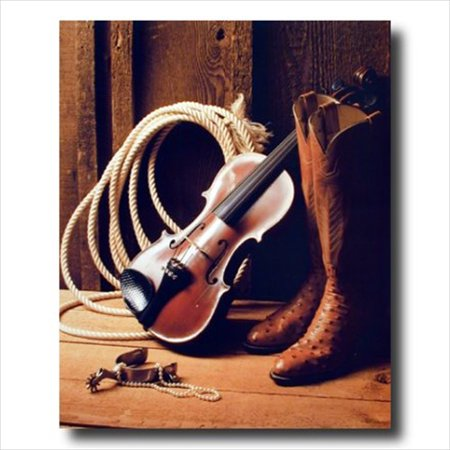 Cowboy Boots Fiddle Spur Rope Wall Picture Art Print (Spkr Wall Mount)