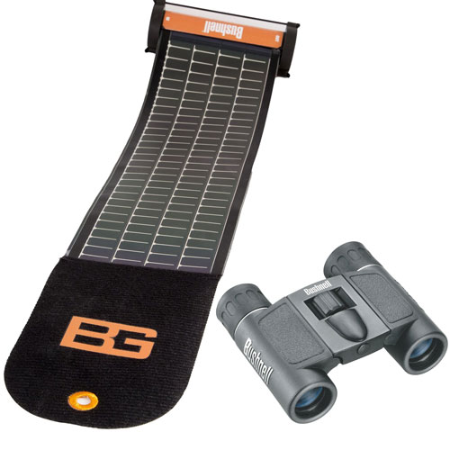Bushnell PowerView 8x21mm Folding Roof-Prism Binocular + Bushnell Bear Grylls SolarWrap Mini USB Charger
