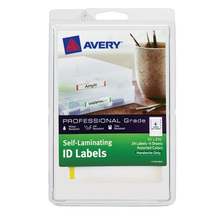 "Avery® Self-Laminating ID Labels, Permanent Adhesive, Handwrite, 2/3"" x 3-3/8"", Assorted Colors, 24 Labels, (00748)"