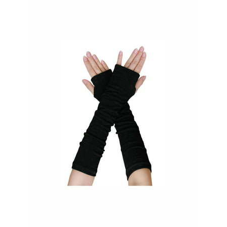 Black Elastic Glove - Unique Bargains Women's Ruffled Thumb Hole Wrist Arm Warmer Knitted Gloves Pair