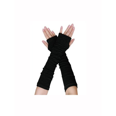 Unique-Bargains Women's Elbow Length Stretchy Thumbhole Arm Warmer Fingerless Gloves Pair