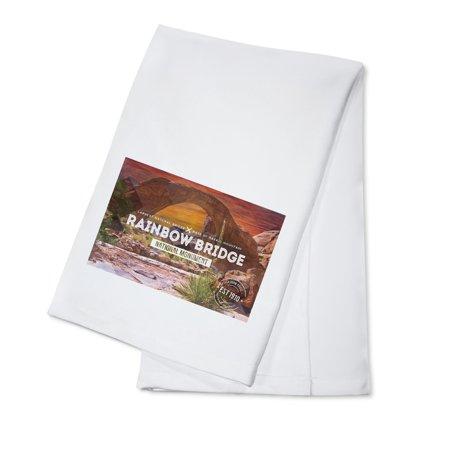 Rainbow Bridge National Monument, New Mexico - Rubber Stamp Sunset - Lantern Press Photography (100% Cotton Kitchen Towel) - Rainbow Dash 20