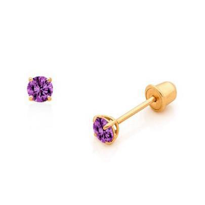 Nm Kids Boutique 14 Karat Gold Birthstone Baby Earrings 3mm Cz