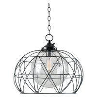 Kenroy Home Industrial 1 Light Outdoor Pendant, Blackened Oil Rubbed Bronze Finish, Outer Wire Shade with Clear Glass Inner Shade, No Hardwiring Needed, UL Listed for Wet and Damp Locations