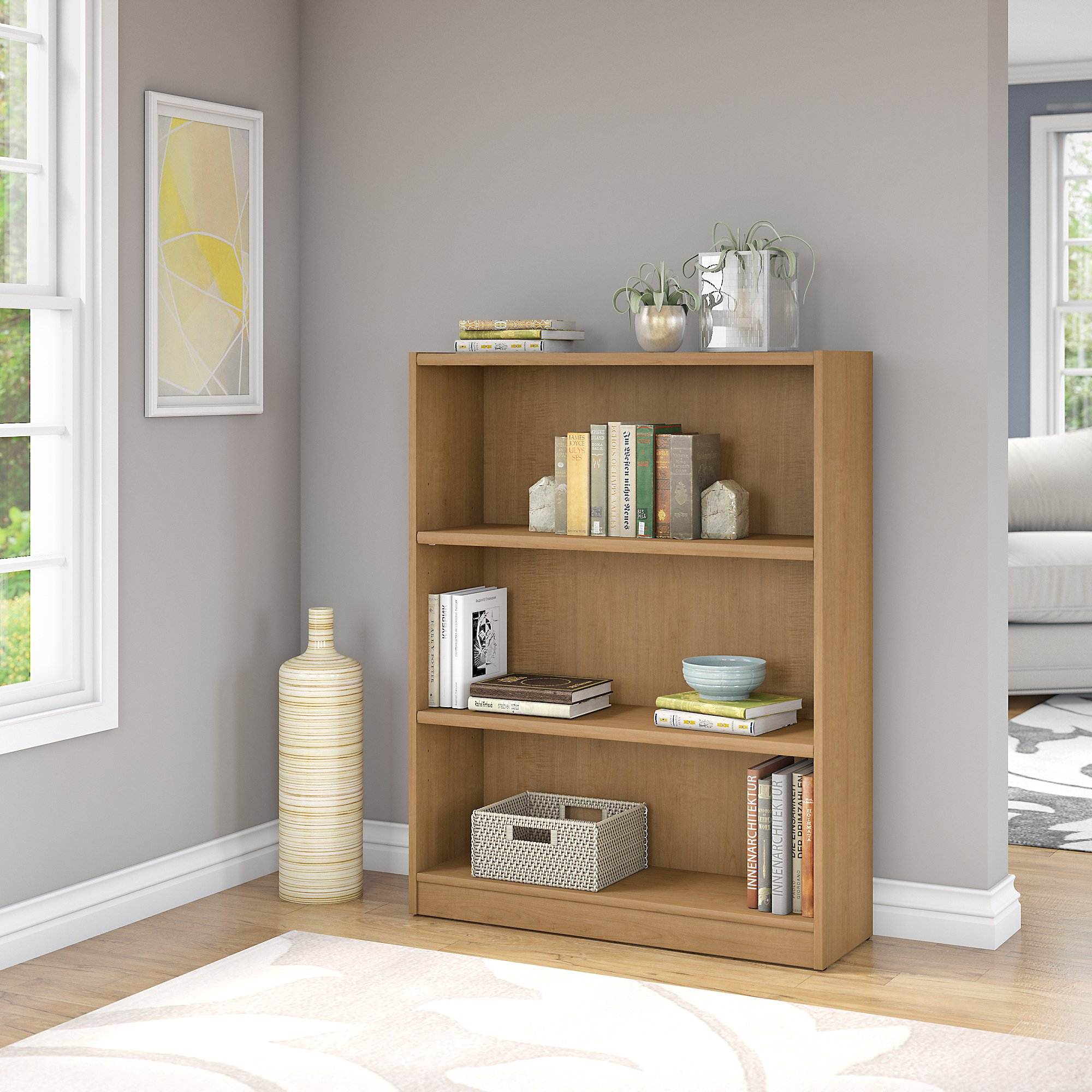 Bush Furniture Universal 3 Shelf Bookcase in Snow Maple