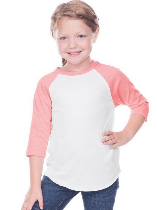 Kavio TJP0660 Toddlers Jersey Contrast Raglan 3/4 Sleeve-White / Flamingo-4T