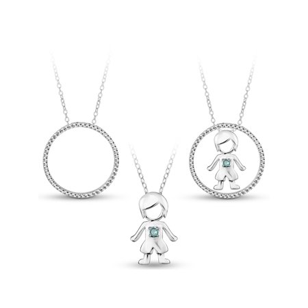 White cz sterling silver 3 in 1 boy circle interchangeable pendant white cz sterling silver 3 in 1 boy circle interchangeable pendant necklace aloadofball Image collections