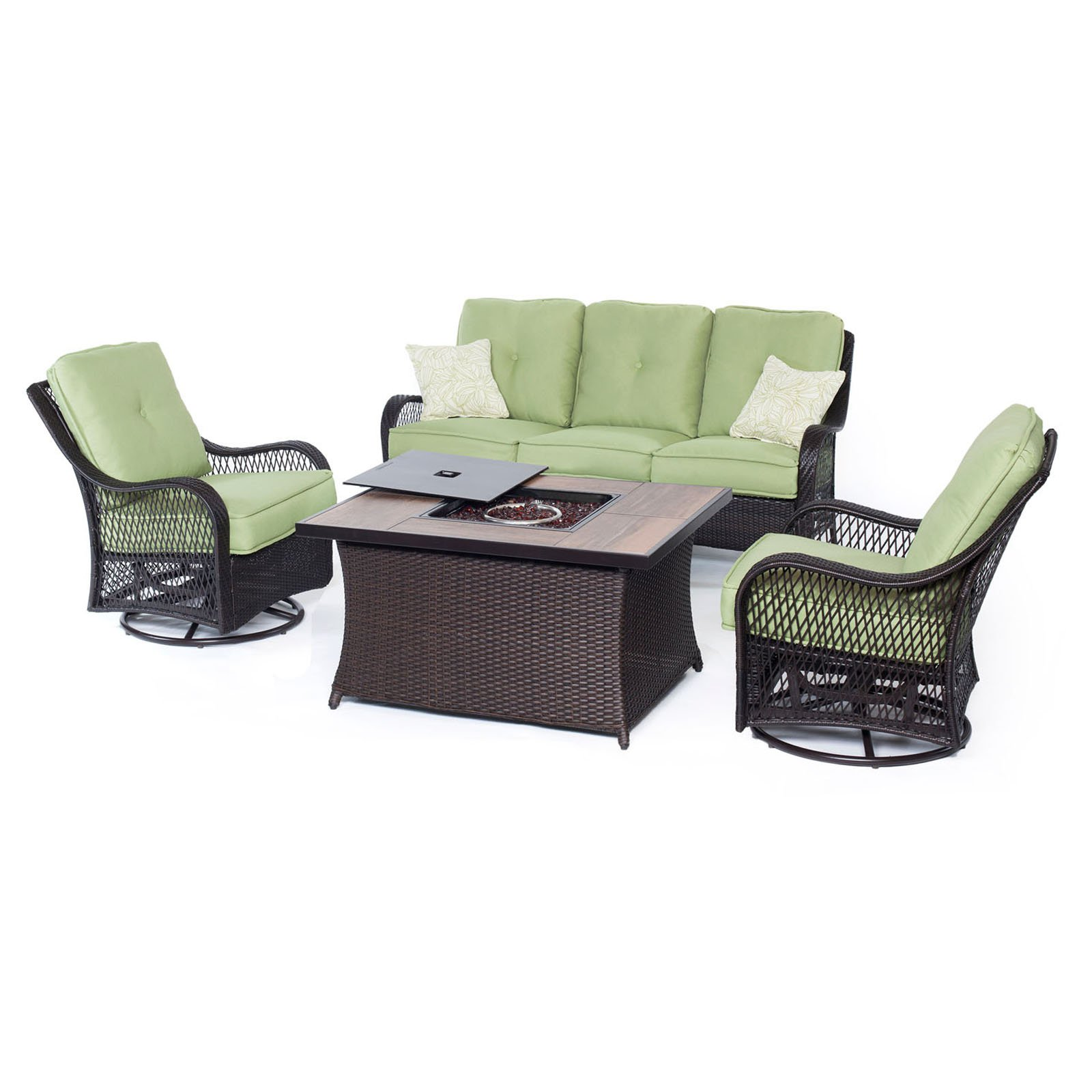 Hanover Orleans 4-Piece Woven Fire Pit Lounge Set with Glazed Faux-Wood Tile Top