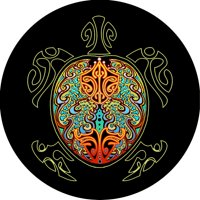 TIRE COVER CENTRAL Turtle tribal multi color graphic with black background spare Tire Cover for 175/80R13 fits camper jeep rv scamp trailer(drop down size menu-all sizes available)