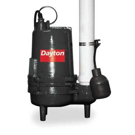 DAYTON Submersible Sewage Pump,1/2 HP 3BB88