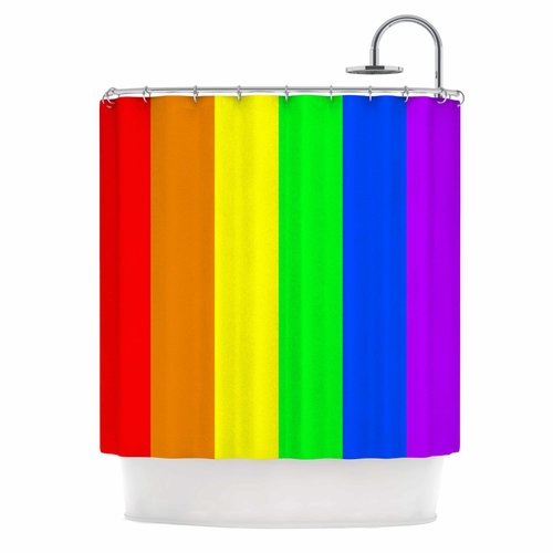 East Urban Home Bruce Stanfield Rainbow Stripes Digital Shower Curtain