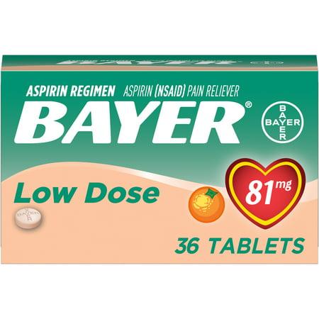Bayer Chewable Aspirin Regimen Low Dose Pain Reliever Tablets, 81mg, Orange, 36 - Stuff Chewable