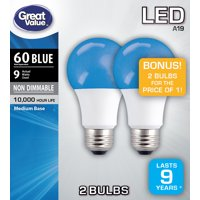 Great Value LED Light Bulb, 9W (60W Equivalent) A19 Lamp E26 Medium Base, Non-Dimmable, Blue, 2-Pack
