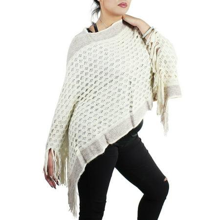 Streak of Brilliance Soft Knitted Crocheted Poncho Cape V-neck Ivory