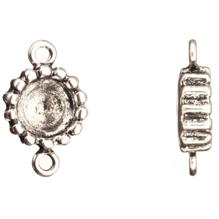 Links Antique-Silver Plated Bead Edged Round Rivoli Setting 18.6x11.66mm Fits ss38 Swarovski Crystals 8pcs/pack (2-Pack Value Bundle), SAVE $1