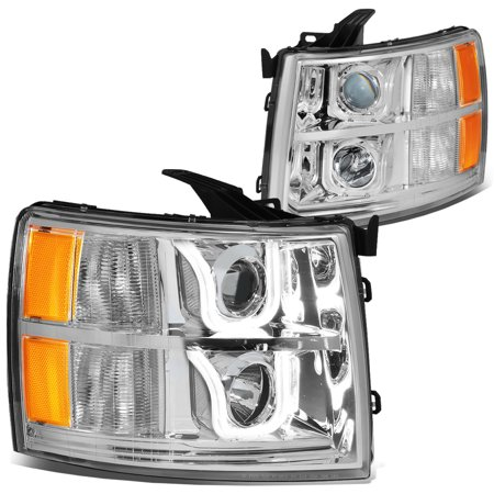 For 2007 to 2014 Chevy Silverado Dual LED U -Halo Projector Headlight Chrome Housing Amber Corner 08 09 10 11 12 13 1500 2500 3500 Left+Right 10 Led Dual Head