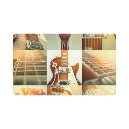 MKHERT Collage of Rock Guitar Popular Musical Instrument Doormat Rug Home Decor Floor Mat Bath Mat 30x18 inch