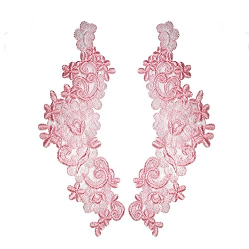 """10.5""""x4"""" Embroidered Sheer Organza Motif Burgundy Coral Red Pink by Pair (Burgundy)"""