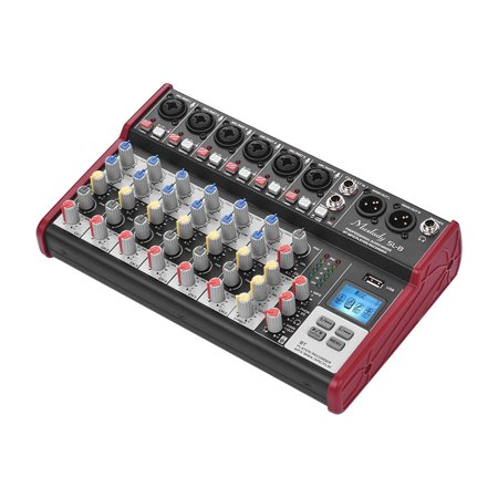 Muslady SL-8 Portable 8-Channel Mixing Console Mixer 2-band EQ Built-in 48V Phantom Power Supports BT Connection USB MP3 Player for Recording DJ Network Live Broadcast Karaoke (Broadcast Console)