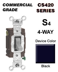 Leviton CS4202E 20 Amp 4Way Toggle Switch Commercial Black