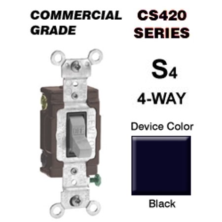 Leviton CS420-2E 20 Amp 4-Way Toggle Switch Commercial - Black