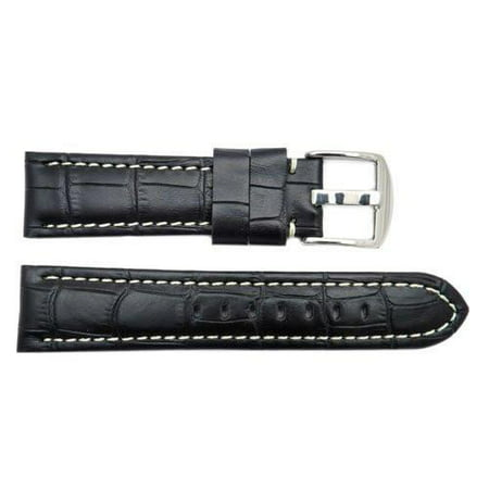 Genuine Leather Black Crocodile Grain Contrast Stitched 20mm Watch