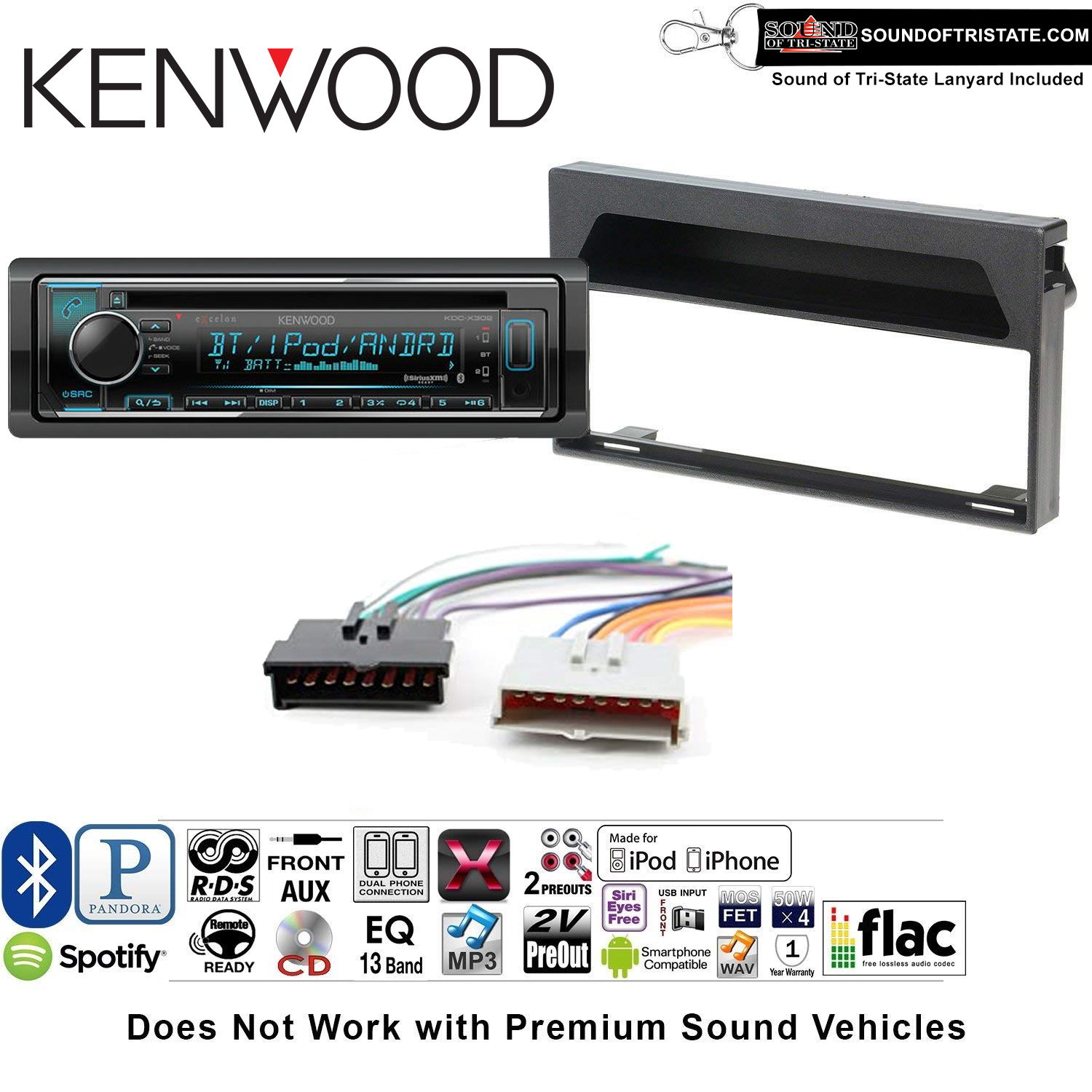 Kenwood KDCX302 Double Din Radio Install Kit with Bluetooth, CD Player, USB/AUX Fits 1997-1998 F-150 Without Premium Sound and a SOTS lanyard included