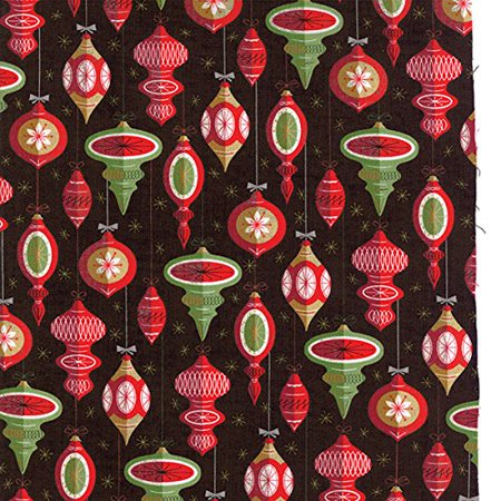 (Clearance Sale~Berry Merry Christmas Ornaments Black Cotton Fabric by Moda)